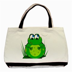 Green Frog Basic Tote Bag (two Sides) by Valentinaart