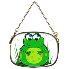 Green Frog Chain Purses (one Side)  by Valentinaart