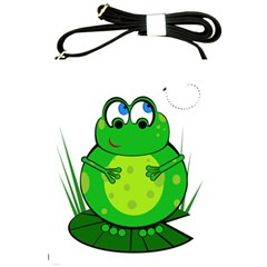 Green Frog Shoulder Sling Bags by Valentinaart