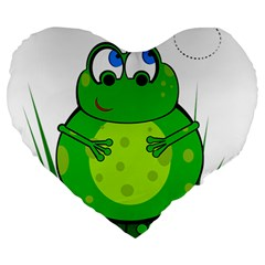 Green Frog Large 19  Premium Heart Shape Cushions by Valentinaart