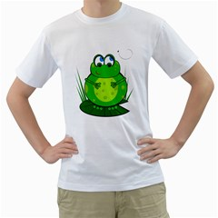 Green Frog Men s T Shirt (white)  by Valentinaart