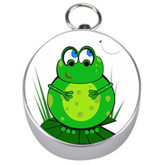 Green Frog Silver Compasses by Valentinaart