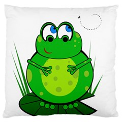 Green Frog Standard Flano Cushion Case (one Side) by Valentinaart