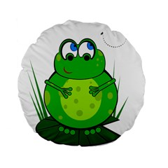 Green Frog Standard 15  Premium Flano Round Cushions by Valentinaart