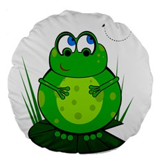 Green Frog Large 18  Premium Flano Round Cushions by Valentinaart