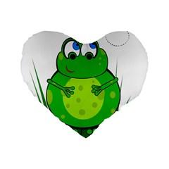 Green Frog Standard 16  Premium Flano Heart Shape Cushions by Valentinaart