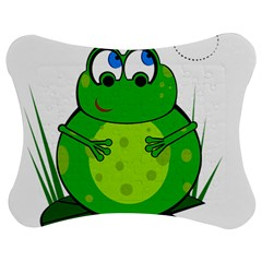 Green Frog Jigsaw Puzzle Photo Stand (bow) by Valentinaart