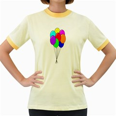 Colorful Balloons Women s Fitted Ringer T Shirts by Valentinaart
