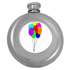 Colorful Balloons Round Hip Flask (5 Oz) by Valentinaart