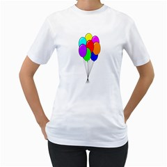 Colorful Balloons Women s T Shirt (white)  by Valentinaart
