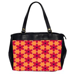Red Flowers Pattern                                                                            Oversize Office Handbag (2 Sides) by LalyLauraFLM