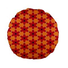 Red Flowers Pattern                                                                            standard 15  Premium Flano Round Cushion by LalyLauraFLM