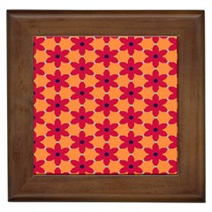 Red Flowers Pattern                                                                            			framed Tile by LalyLauraFLM