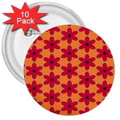 Red Flowers Pattern                                                                            			3  Button (10 Pack) by LalyLauraFLM