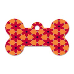 Red Flowers Pattern                                                                            			dog Tag Bone (one Side) by LalyLauraFLM