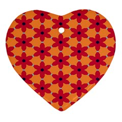 Red Flowers Pattern                                                                            			ornament (heart) by LalyLauraFLM