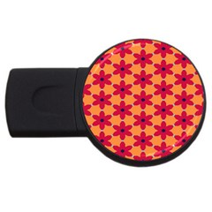 Red Flowers Pattern                                                                            usb Flash Drive Round (4 Gb) by LalyLauraFLM