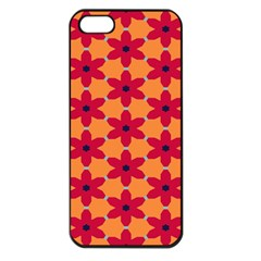 Red Flowers Pattern                                                                            			apple Iphone 5 Seamless Case (black) by LalyLauraFLM