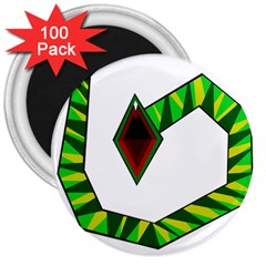 Decorative Snake 3  Magnets (100 Pack) by Valentinaart