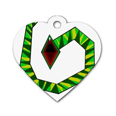 Decorative Snake Dog Tag Heart (two Sides) by Valentinaart