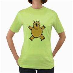 Pink Rhino Women s Green T Shirt by Valentinaart
