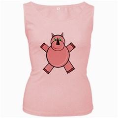 Pink Rhino Women s Pink Tank Top by Valentinaart