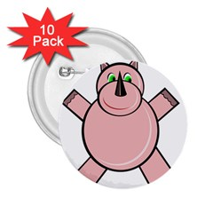 Pink Rhino 2 25  Buttons (10 Pack)  by Valentinaart