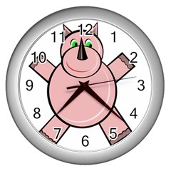 Pink Rhino Wall Clocks (silver)  by Valentinaart