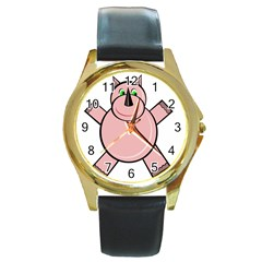 Pink Rhino Round Gold Metal Watch by Valentinaart