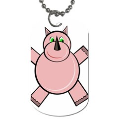 Pink Rhino Dog Tag (two Sides) by Valentinaart