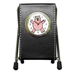 Pink Rhino Pen Holder Desk Clocks by Valentinaart