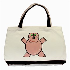 Pink Rhino Basic Tote Bag by Valentinaart