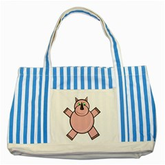 Pink Rhino Striped Blue Tote Bag by Valentinaart