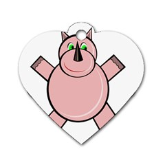 Pink Rhino Dog Tag Heart (two Sides) by Valentinaart