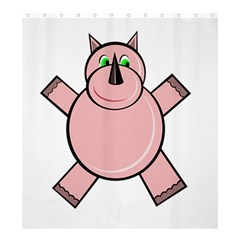 Pink Rhino Shower Curtain 66  X 72  (large)  by Valentinaart
