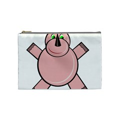 Pink Rhino Cosmetic Bag (medium)  by Valentinaart