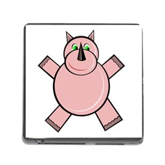 Pink Rhino Memory Card Reader (square) by Valentinaart