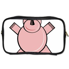 Pink Rhino Toiletries Bags by Valentinaart