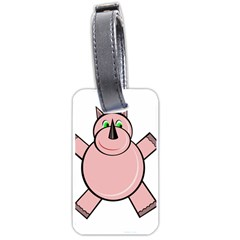 Pink Rhino Luggage Tags (one Side)  by Valentinaart