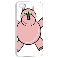 Pink Rhino Apple Iphone 4/4s Seamless Case (white) by Valentinaart