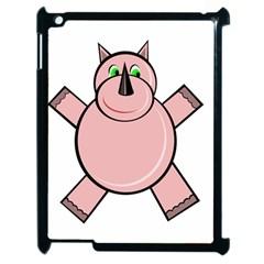 Pink Rhino Apple Ipad 2 Case (black) by Valentinaart