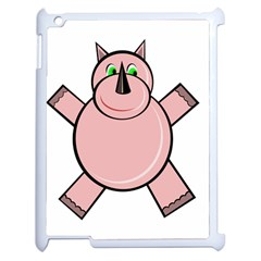 Pink Rhino Apple Ipad 2 Case (white) by Valentinaart