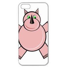 Pink Rhino Apple Seamless Iphone 5 Case (clear) by Valentinaart