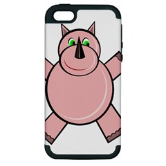 Pink Rhino Apple Iphone 5 Hardshell Case (pc+silicone) by Valentinaart