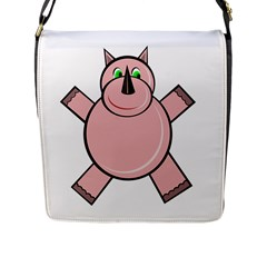 Pink Rhino Flap Messenger Bag (l)  by Valentinaart