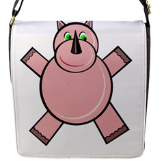Pink Rhino Flap Messenger Bag (s) by Valentinaart