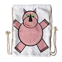 Pink Rhino Drawstring Bag (large) by Valentinaart
