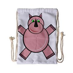Pink Rhino Drawstring Bag (small) by Valentinaart