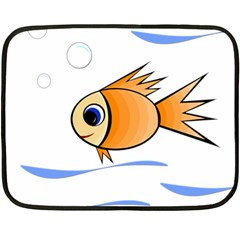 Cute Fish Fleece Blanket (Mini) by Valentinaart