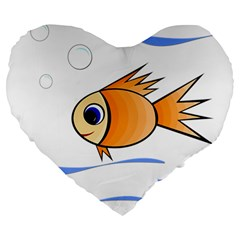 Cute Fish Large 19  Premium Heart Shape Cushions by Valentinaart